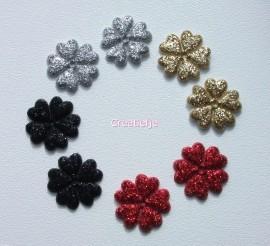 Set 8 kleine bloemetjes met glitters.
