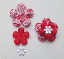 Set bloemen satijn rood.