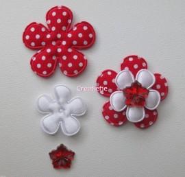 Set bloemen rood met polkadots en flatbacks.