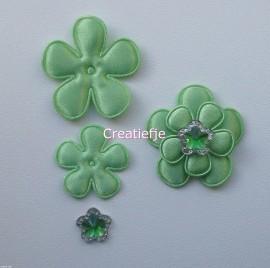 Set groene satijnen bloemen met flatbacks.